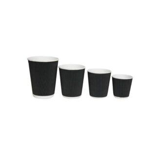 "Стакан бумажный ""Гофра"", цвет черный, объем 250 мл, 30 шт./уп. (арт. 16115)"