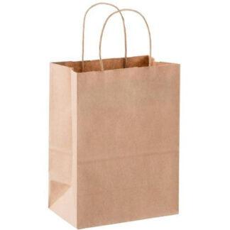 Пакет бумажный с кручеными ручками, бурый, 280*190*115 мм