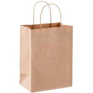 Пакет бумажный с кручеными ручками, бурый, 290*230*120 мм