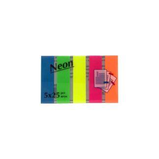 Закладки флажки, неоновые, 5 цветов, 45 мм*12 мм, 125 шт./уп. (арт.45144)