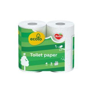"""Туалетная бумага """"Еcolo"""" 2-слойный целлюлозная на гильзе, белая 4шт (16 / пак) (арт. 10029)"""
