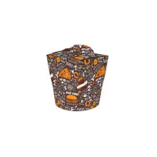 Контейнер бумажный Паста-Бокс, объем 600мл, черный с рисунком, шт (50шт / пак) (арт. 15284)