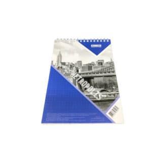 Блокнот А5, 48 листов, верхняя пружина, клетка, синий, ВМ.24545101-02 (арт. 45084)